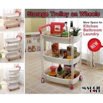 3 tier Plastic trolley on wheel kitchen bathroom laundry storage cart shelf